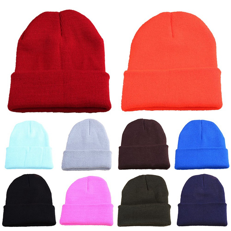 Autumn Winter Warm Beanie Fluorescence Color Harajuku Hip Hop Hats For Woman Knitted Girls Female Beanies Caps