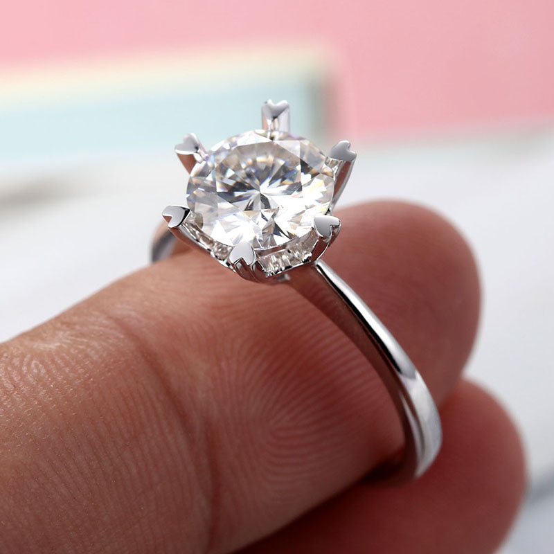 14k white gold 2ct Moissanites For Women Lab Grown Diamond Six Prongs Solitaire Ring