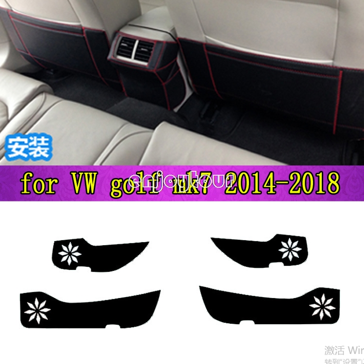 Car pads front rear door Seat Anti-kick mat Car-styling Accessories for volkswagen vw golf MK7 2014 2015 2016 2017 2018 for volkswagen vw golf 7 mk7 2013 2014 2015 stainless steel car speaker cover door bottom audio sound frame case accessories