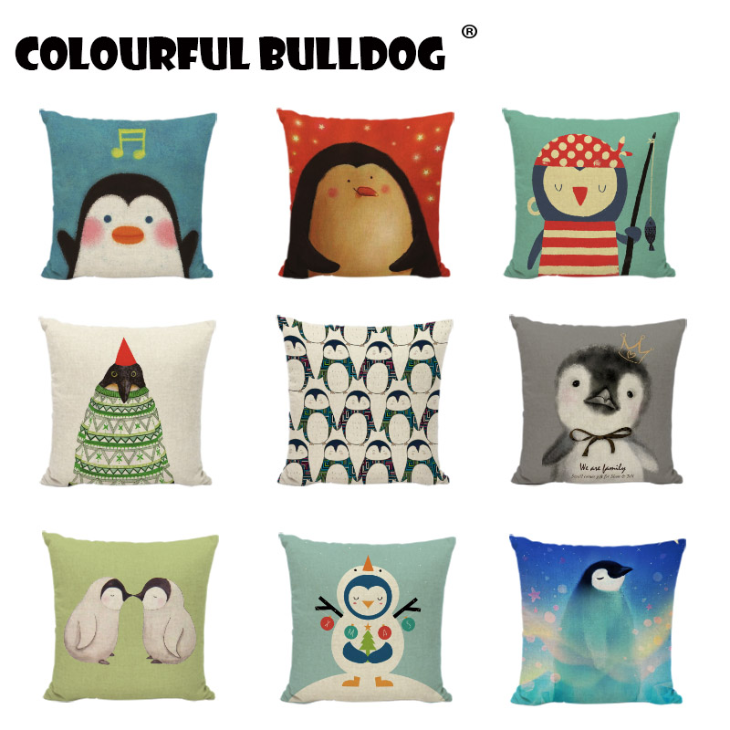 Cartoon Penguin Cushion Covers New Year Christmas Childlike Gifts Throw Pillow Cover Home Decor Sofa Farmhouse Linen Pillowcases