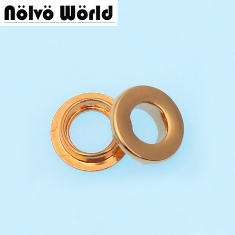 50PCS 16mm (3/8 inch inner) grommet 100% copper die casting bags metal fitting hardware accessory pressed round eyelets 50pcs 100% copper die casting 11 9mm round head rivet screw for bags hardware high quality rivets accessories