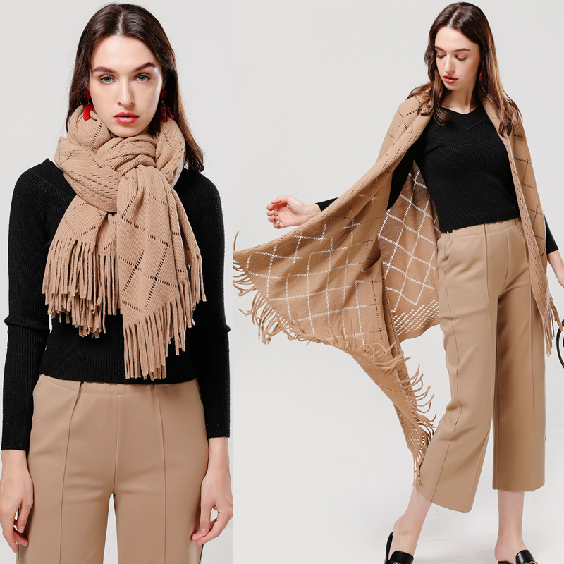Femme Women Winter Blanket Scarf Warm Soft Cashmere Thicken Long Ladies Tassel Scarves Poncho Foulard mujer invierno 2019