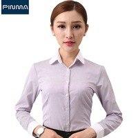 Новый Дизайн Блузка Топы с длинным рукавом пр марка одежды бизнес черно-белый полосатый рубашки для работы офиса рубашки сорочка femme