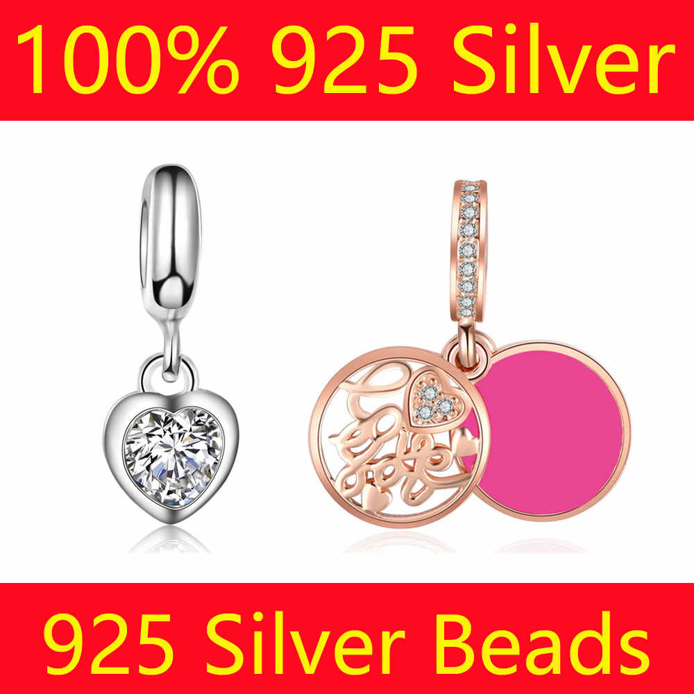 100% S925 Sterling Silver Dangle Charm Beads Vnistar Love Heart Travel Camera Flower DIY 925 Silver European Bead Charms