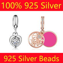 100% S925 Sterling Silver Dangle Charm Beads Vnistar Love Heart Travel Camera Flower DIY 925 Silver European Bead Charms(China)