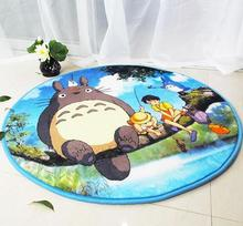 Yvonicky Brand New Wholesale Round Cartoon Totoro Carpet For Living Room Bedroom Study Tapis Non-slip Chair Mats Plush Rugs