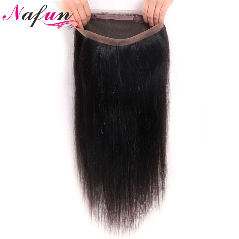 NAFUN Hair Straight Weave 360 Lace Frontal Closure With Baby Hair Brazilian Non-Remy Natural Color 100% Human Hair Lace Frontal