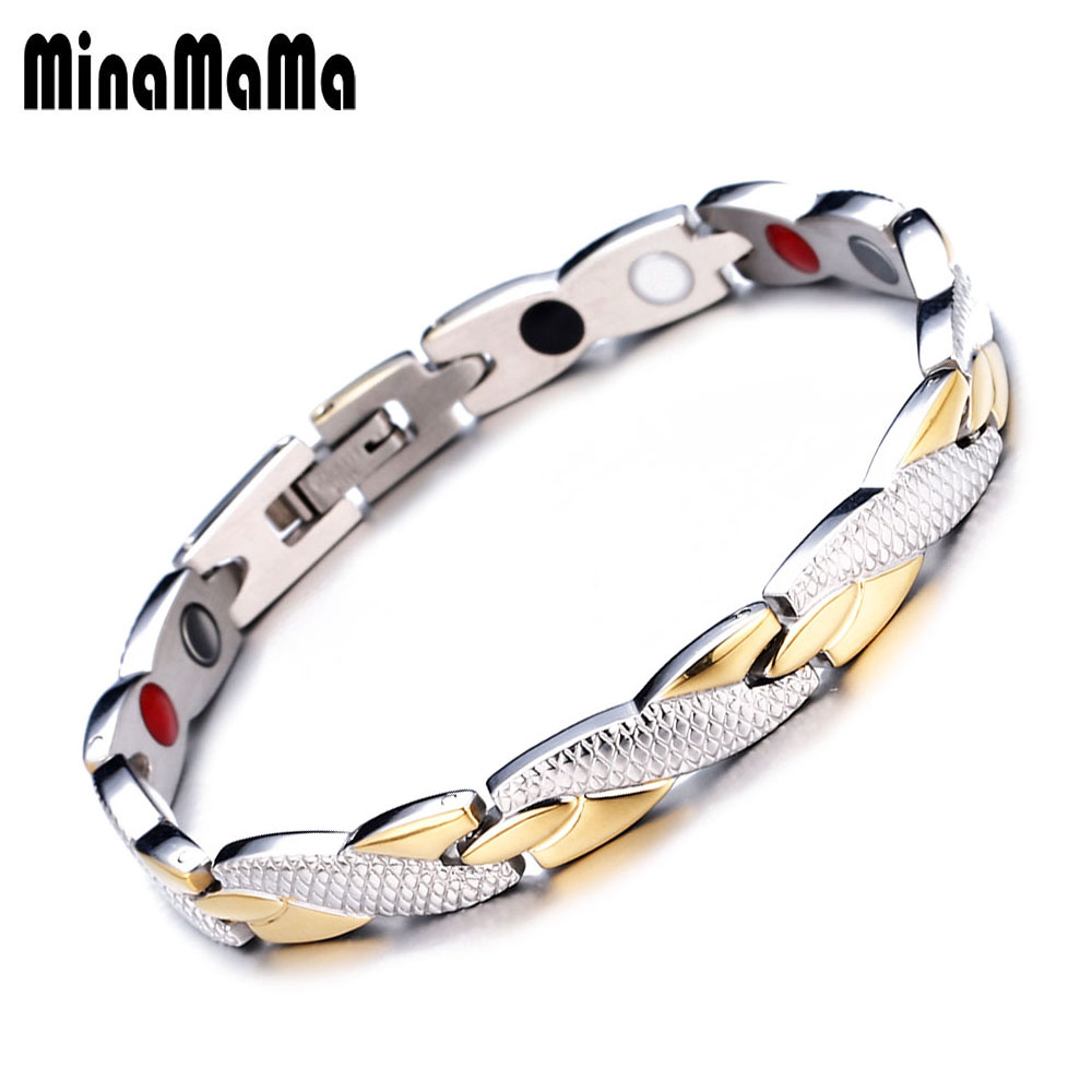 Oval Silver /& Multi Colors Crystals Women magnetic stainless steel link bracelet