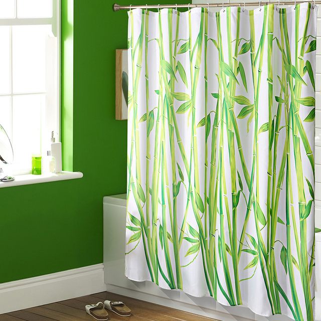 Modern Green Bamboo Waterproof Fabric Shower Curtains For Bathroom With  Hooks