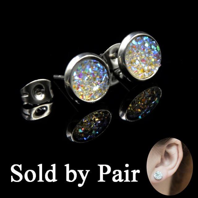 Pair Faux Silver Druzy Cer Earring Ear Stud Tragus Cartilage Earrings Jewelry For Babies Kids