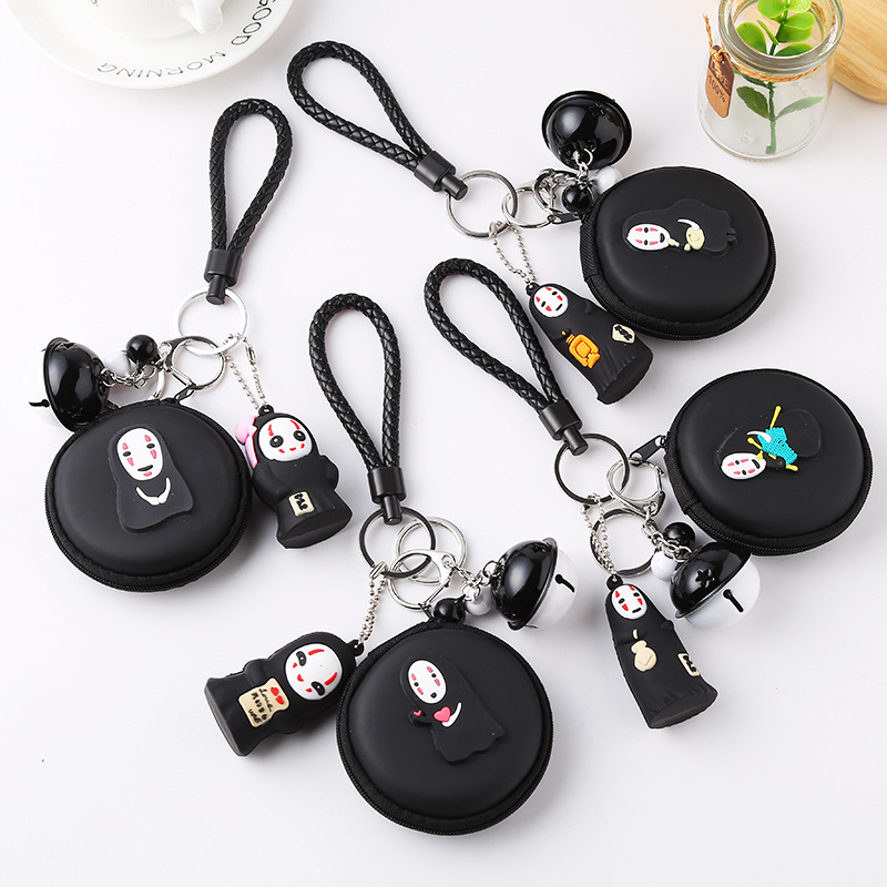 Cute Balck White People Little Coin Bag Women And Men Coin Purse Headset Pvc Headset Bag Girls Little Bell Keychain Pendant