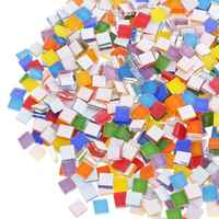 100g Multi Colors Square Clear Glass Mosaic Tile DIY Crafts Transparent Stone Children Puzzle Creativity Art Stone Gift