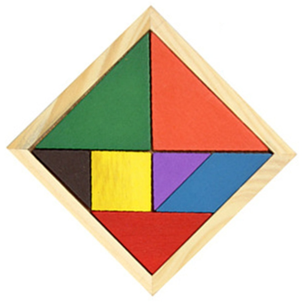 classic creative wooden tangram 7 piece jigsaw puzzle colorful