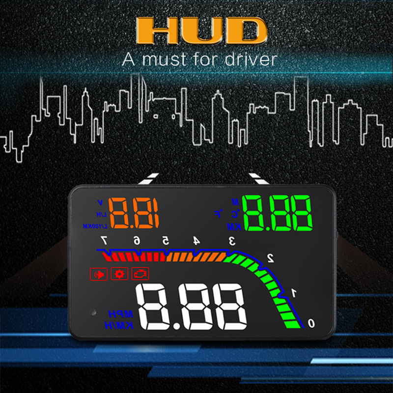 Newest T100 HUD Head Up Display Plug and Play Connectivity Multi-Color Design Digital Car Speedometer Engine Code Fault Alarm