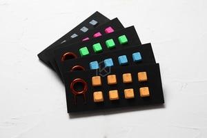 Image 2 - Zestaw gumowych klawiszy do gier taihao gumowany podwójny zestaw klawiszy Cherry MX profil oem połysk zestaw 8 magenta jasnoniebieski