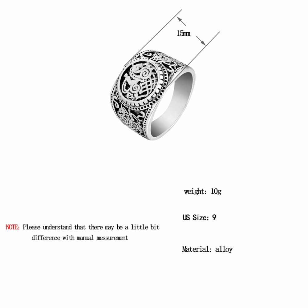 Chengxun ocidental estilo étnico antigo prata signet anéis nórdico viking jóias sleipnir cavalo anel biker biker bijuterias