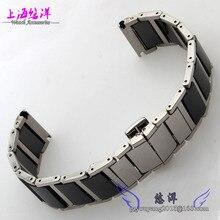Accesorios del reloj de cerámica correa de pulsera fit hombres y mujeres 20 mm de acero