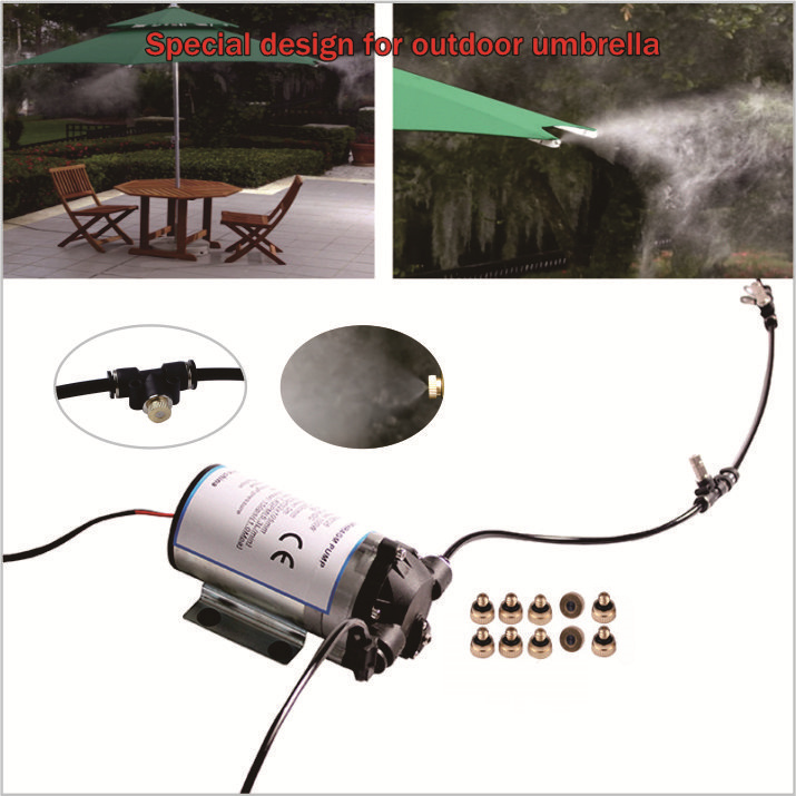 Design for cooling of outdoor umbrella Silent pump 10pcs nozzle outdoor mist cooling system