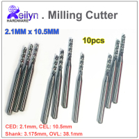 2 1x10 5x3 175mm 10pcs Carbide End Mill PCB Milling Cutter CNC Cutter Mini Drill