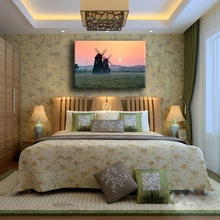 Bedroom Or Living Room Wall Decorative Landscape Artwork Canvas Print Type 1 Piece Windmill Grass Field Sunrise Painting