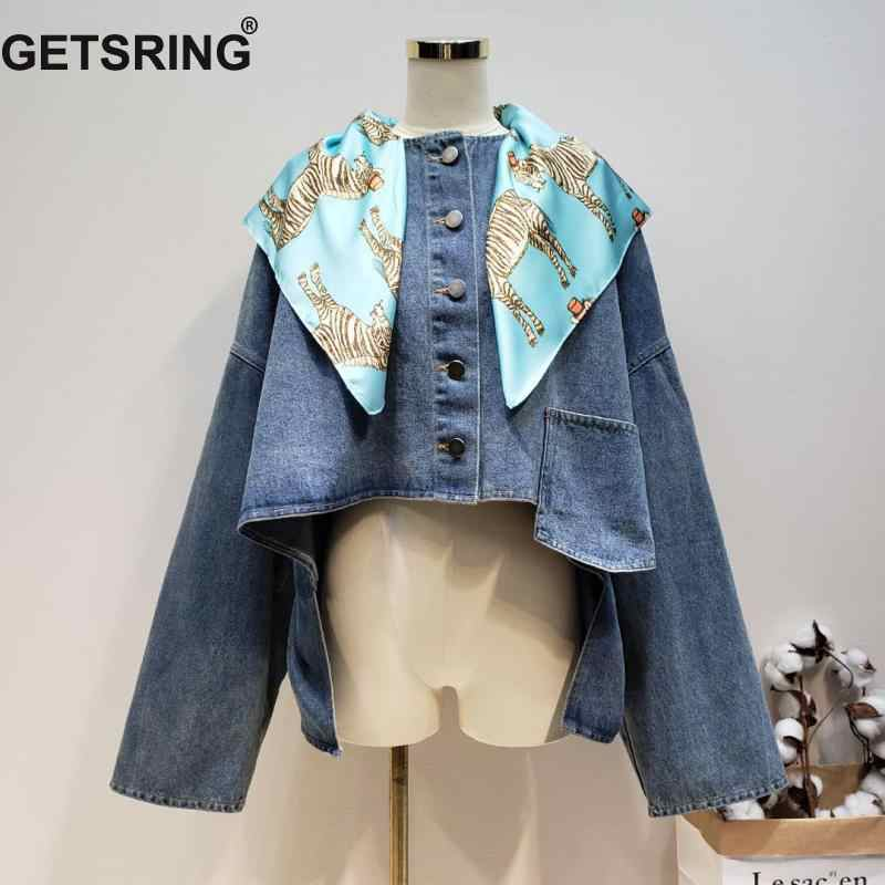 GETSRING Woman Coat Irregular Print Stitching Denim Coats Asymmetry Loose Leisure Color Matching Coat Woman 2019 New Fashion