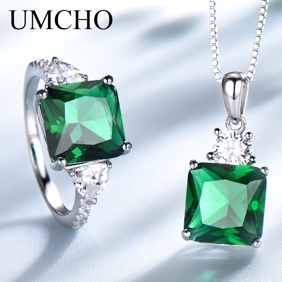 UMCHO Real 925 Sterling Silver Jewelry Created Emerald Rings Necklace Elegant Gifts For Women With Box Chain Fine Jewelry Sets