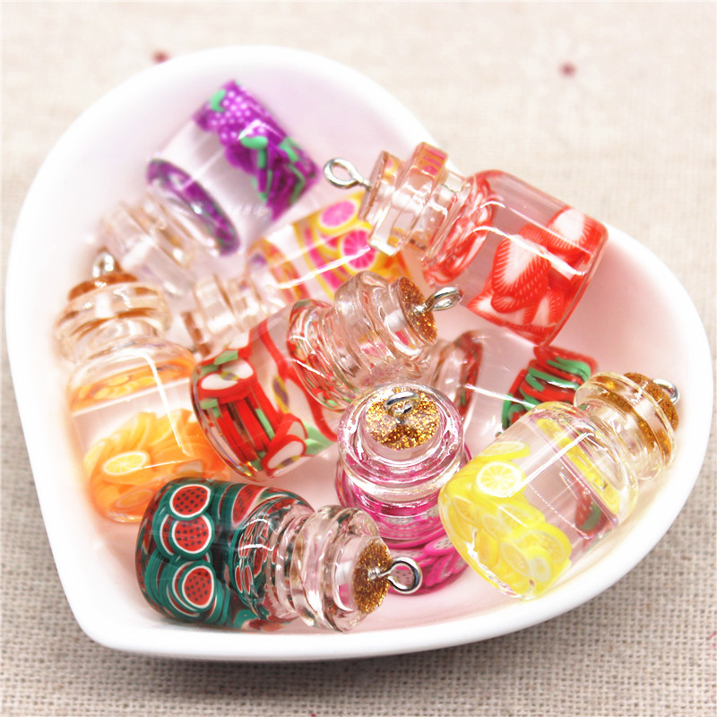 5pcs New Design Mix Colors 3D Glass Fruit Slices Sealed Bottle Iron Hook DIY Craft/Jewelry Accessory,15*22mm