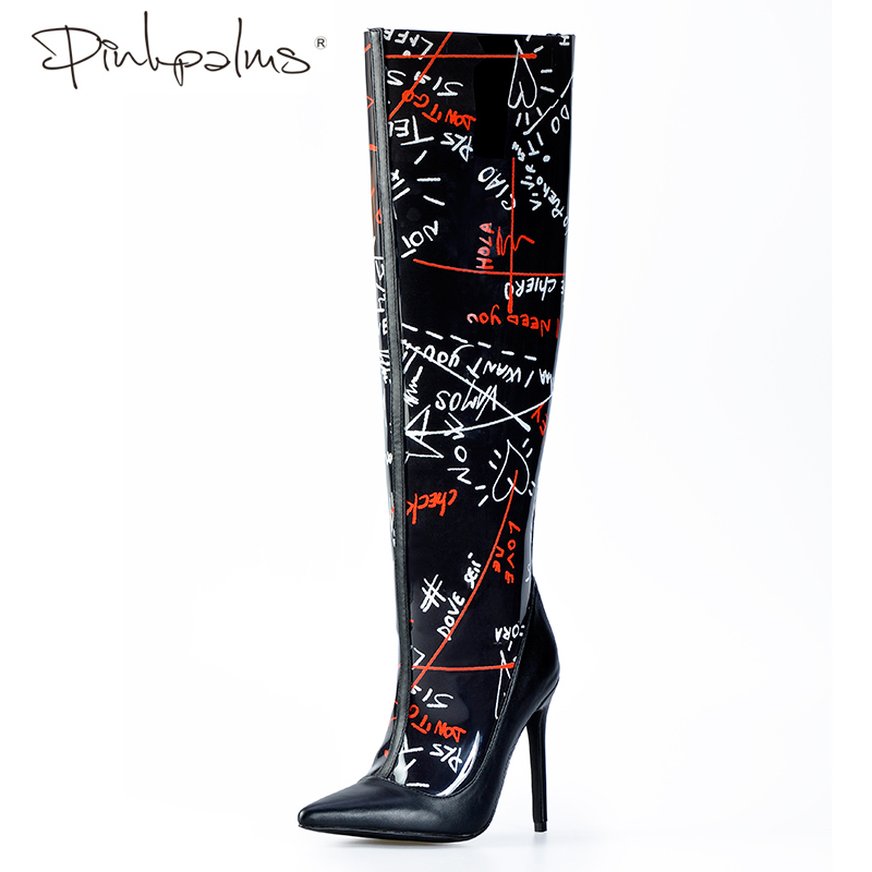 official site cheap for sale later Pink Palms Shoes Women Black Basic Boots Spring Autumn High Heel ...