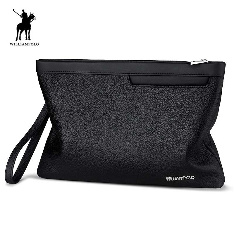 Genuine Leather Mens Business Clutch Bag Organizer Wallet Male Clutches WILLIAMPOLO 2018 Fashion Minimalist Black Clutch Wallet