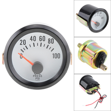 6036BL Oil Pressure Gauges 2 52mm 12V Blue LED 0~100PSI Gauge Meter with Sensor for Car Boat Truck ATV
