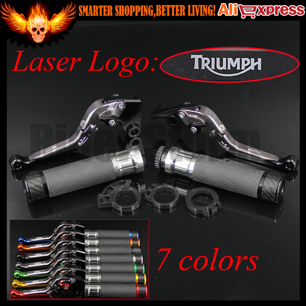 ФОТО Black+Titanium CNC Motorcycle Brake Clutch Levers&Handlebar Hand Grips For Triumph SPEED TRIPLE 97 1998 1999 2000 2001 2002 2003