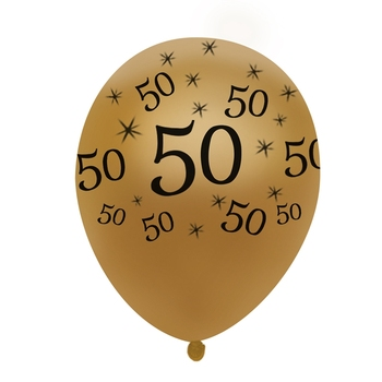 50th Birthday Balloon Gold 10 Pcs