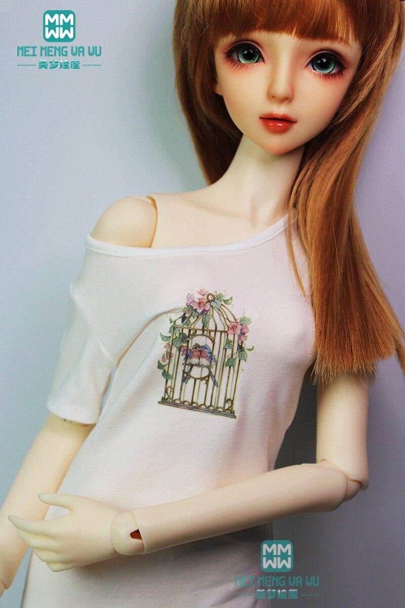 BJD Doll Clothes For 58-62cm DD SD10 SD13 1/3 BJD Doll Fashion Printed Wild Casual Long T-shirt