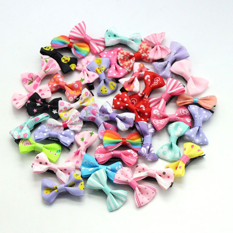 20 Pcs/ Lot Small Mini 3cm Bow Hairgrips Sweet Girls Hair Accessories Solid Dot/Stripe Printing  Hair Clips Kids Hairpins 6 pcs lot 3 girls sweet glitter hair bow for kids boutique hairgrips high quality bling hair accessories