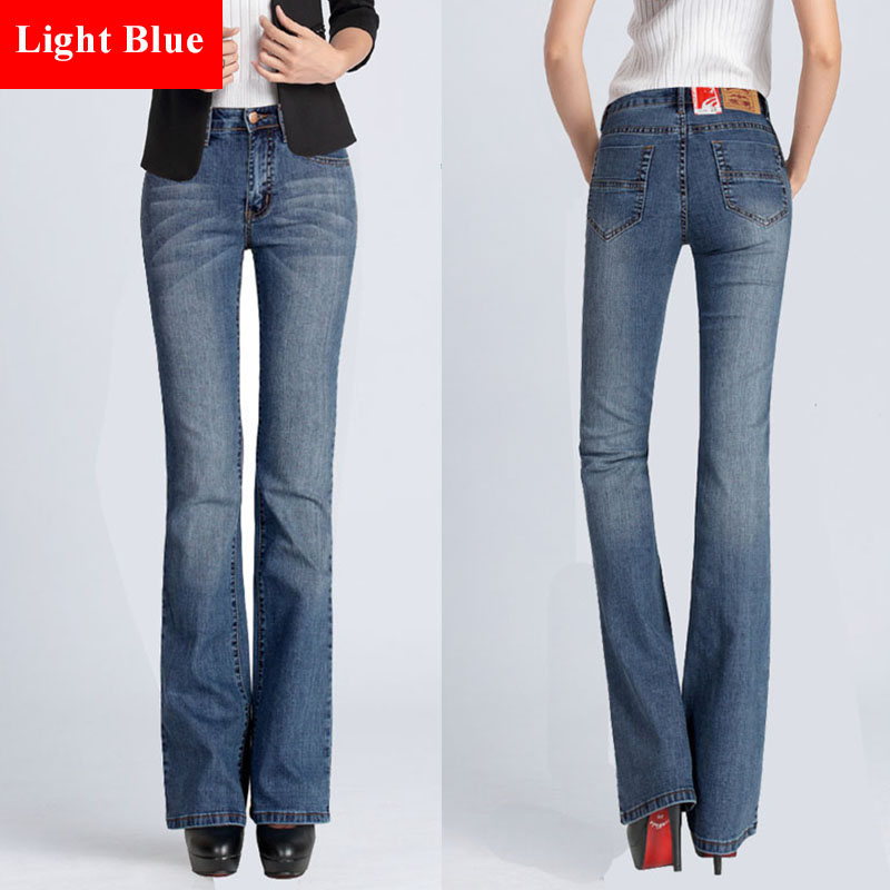 Slim Fit Plus Size Flare Jeans High Waist Stretch Skinny Jean ...