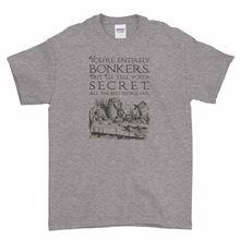 Alice in Wonderland Quote Saying Youre Bonkers Boys Men T Shirt Top Tee 100% Cotton Short Sleeve O-Neck Tops Shirts