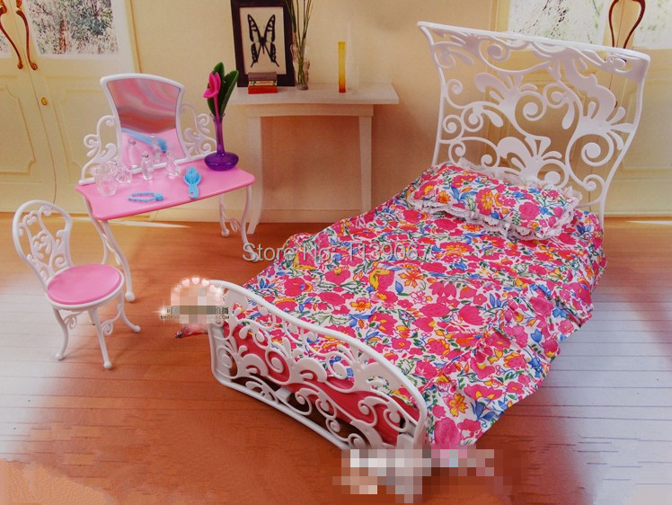 dollhouse princess mirror bed set bedroom furniture baby toys girls birthday gift accessories for barbie ken doll bedroom furniture barbie ken