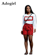 Adogirl Snake Print 2 Piece Set O-neck Long Sleeve Crop Top And Bow Tie Waist Shorts 2019 Autumn Women Outfits Plus Size XXL(China)