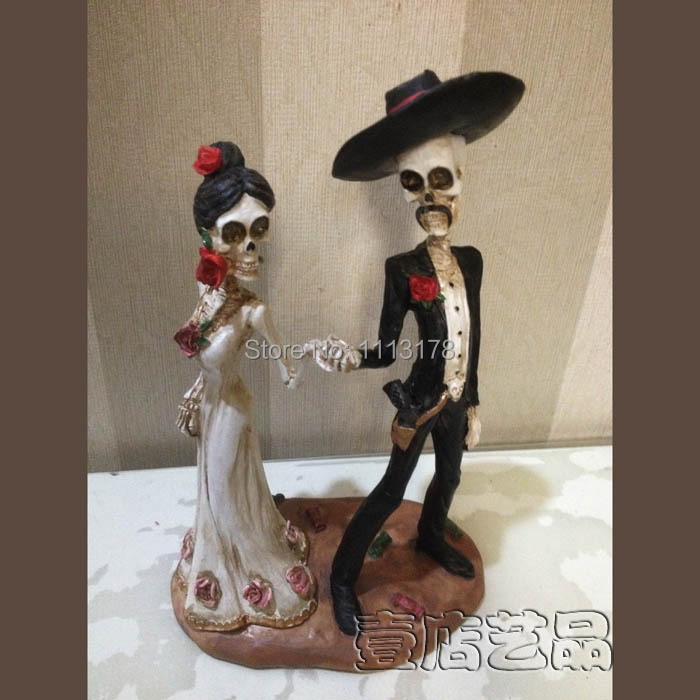 halloween wedding cake toppers skull and groom wedding cake topper 4674