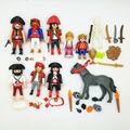 10 unids estrenar Playmobil Geobra original modelo piratas princesa príncipe caballo gris workersAction figura con piezas pequeñas