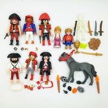 10 pcs Marque nouveau Playmobil Geobra d'origine modèle prince princesse pirates gris cheval workersAction figure avec petites pièces