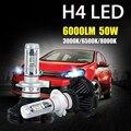 Oslamp H4 50 W de Alta luz de Cruce LED 6000lm Linterna Del Coche Del Bulbo CREE Fichas CSP 3000 K/6500 K/8000 K Auto Faros Led Luz de Niebla 12 v 24 v