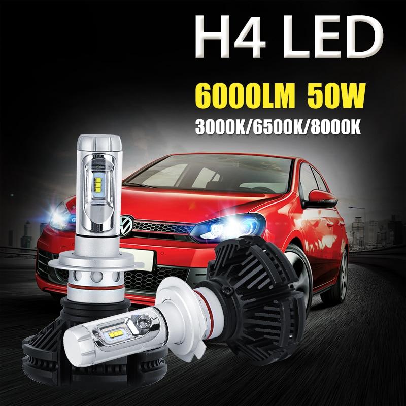 ФОТО Oslamp H4 50W High Low Beam LED Car Headlight Bulb 6000lm CREE CSP Chips 3000K/6500K/8000K Auto Led Headlamp Fog Light 12v 24v