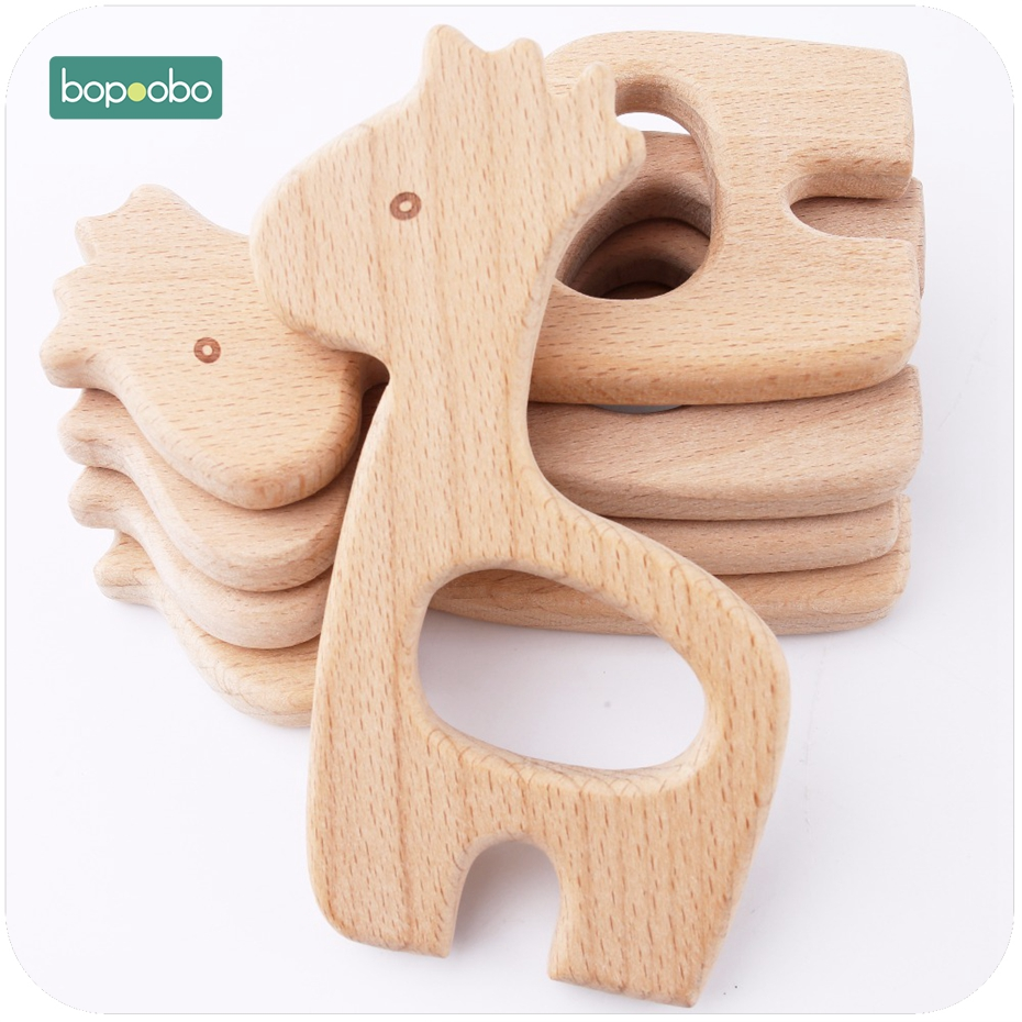 Bopoobo Baby Toys 10pc Beech Wood Giraffe Dolls Baby Nursing Accessories Educational Toys For Babies Wooden Rattles Teethers