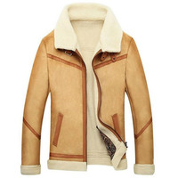 NEW Mens Sheepskin Coat Winter Male Fur Coat Men's Leather Jacket Velvet Thicken Leather Fur Coat Manteau fourrure homme