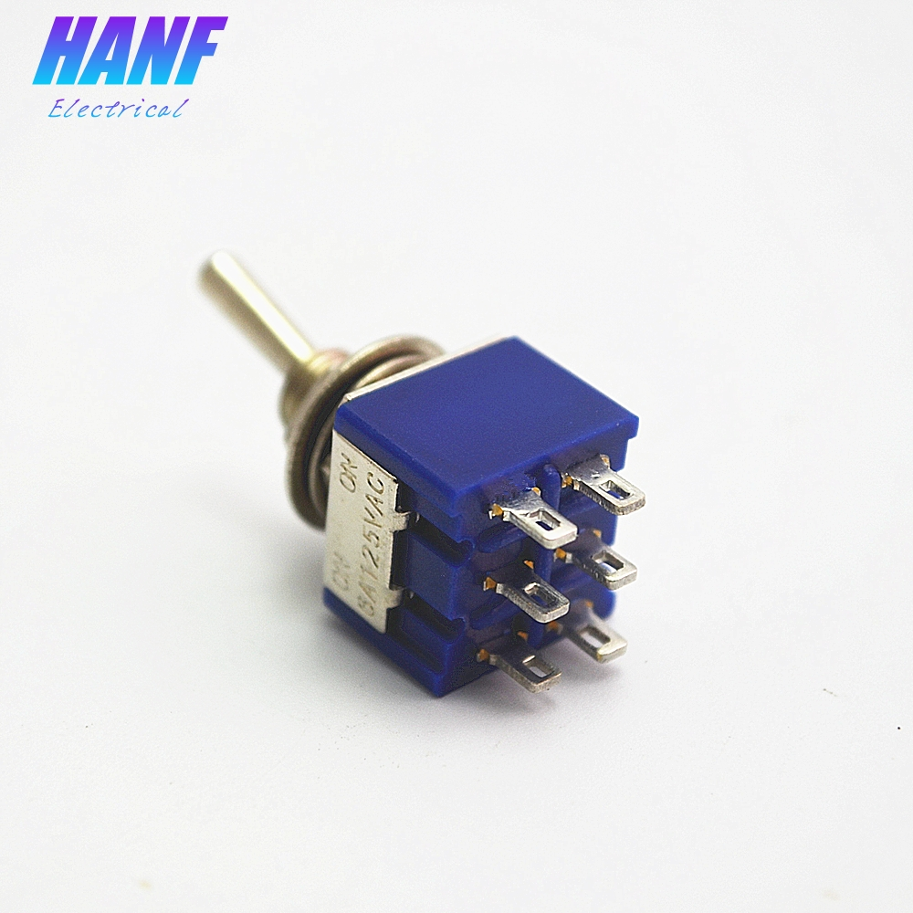 5pcs MTS-202 6mm Mini toggle switch DPDT ON-ON 2 Positions rocker switch 6 pins lever switch 6A/125VAC 5pcs mts 101 blue 6mm 2pin 2file on on rocker switch toggle switch 6a125v