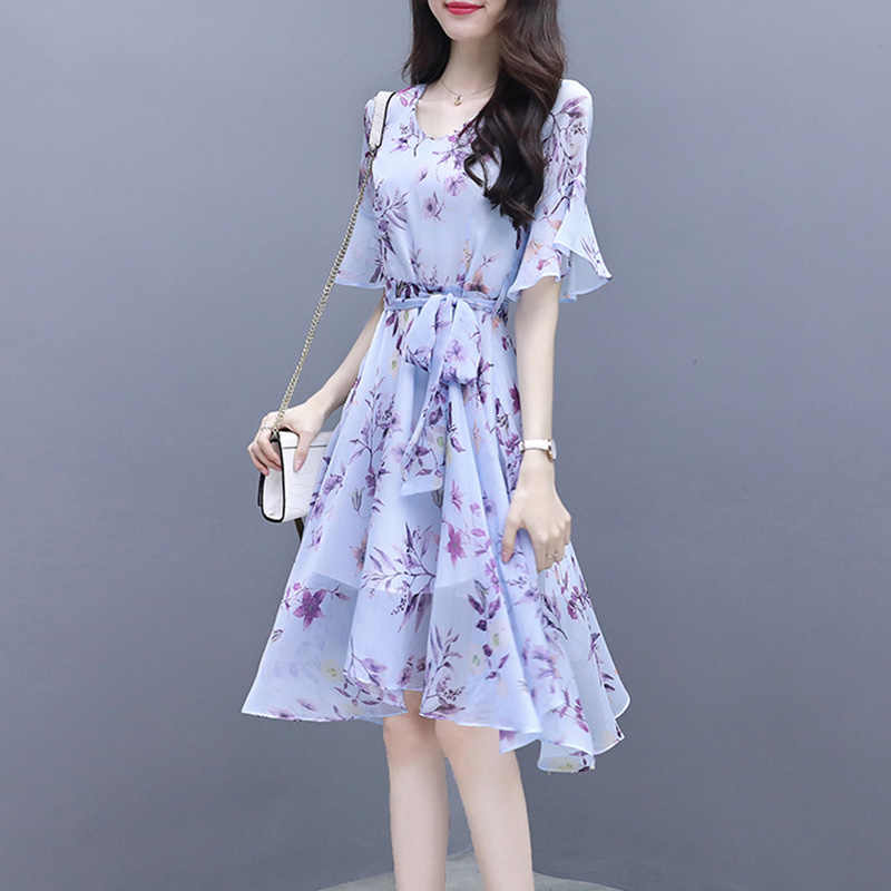 Sexy O-Neck Sundress Elegant Women Summer Chiffon Floral Dress Boho Casual Dress Vestidos