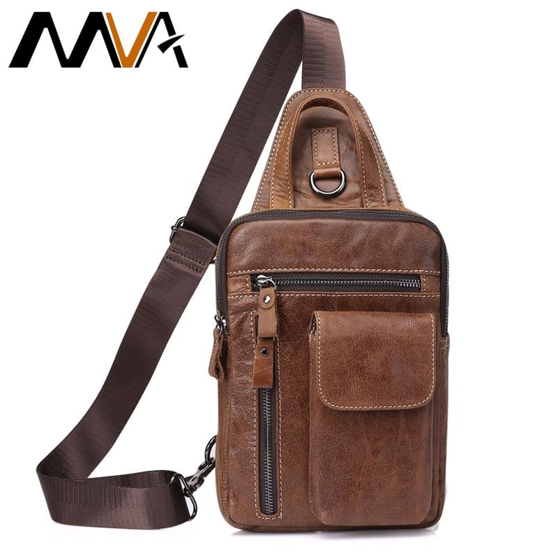 MVA Meeste ehtne nahk Messenger kott meeste õlakottide meessoost rindkere pakkide kottide meeste rinnus kott Sling nahk 8871