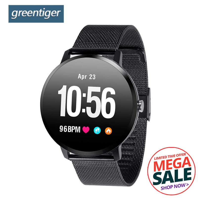 Greentiger V11 Smart Watch Tempered glass Activity Fitness tracker sport smartwatch IP67 Waterproof Heart rate monitor Men Women v11 smart watch ip67 waterproof tempered glass activity fitness tracker heart rate monitor brim men women fitness smart watch