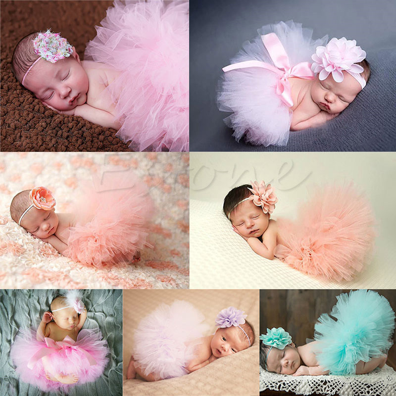 New Soft Cute Newborn Baby Girl Clothes Skirt Set Newborn Baby Photography Props Baby tutu Baby Cap Hat For boys/girls